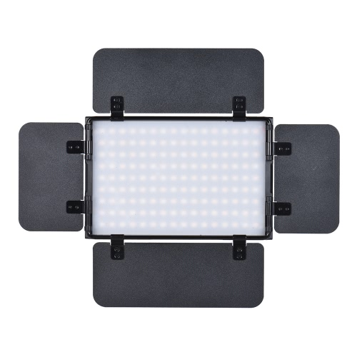 Tolifo PT-15B PRO II 15W LED Panel Light Dimmable Bi-color 3200K - 5600K Ultra-thin Aluminum Alloy On-Camera Lamp with 4-Leaf Barn Door LCD Screen Support 2.4G Wireless Remote Control for Canon Nikon Sony DSLR Camera Camcorder Video Studio Photography