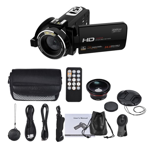 Andoer HDV-Z20 1080P Full HD 24MP WiFi Digital Video Camera Camcorder with 0.39X Wide Angle + Macro Lens 3.0