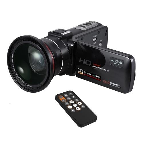 Andoer HDV-Z20 1080P Cyfrowa kamera wideo cyfrowa Full HD 24MP z obiektywem szerokokątnym 0,39X + Macro Obiektyw 3,0 calowy obrotowy ekran dotykowy LCD Obsługa pilota 16X cyfrowa dioda LED