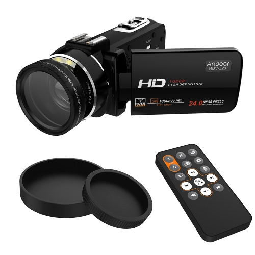 Andoer HDV-Z20 Portable 1080P Full HD Digital Video Camera with 37mm 0.45× Wide Angle Lens Max 24 Mega Pixels 16× Digital Zoom Camcorder 3.0