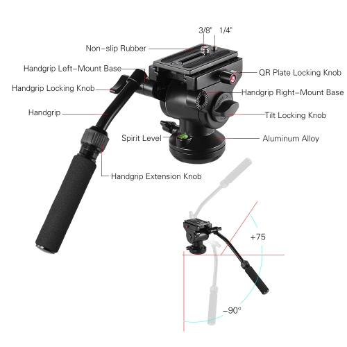 Andoer Video Camera Tripod Action Fluid Drag Pan Head Hydraulic Panoramic Photographic Head for Canon Nikon Sony DSLR Camera Camcorder Shooting Filming