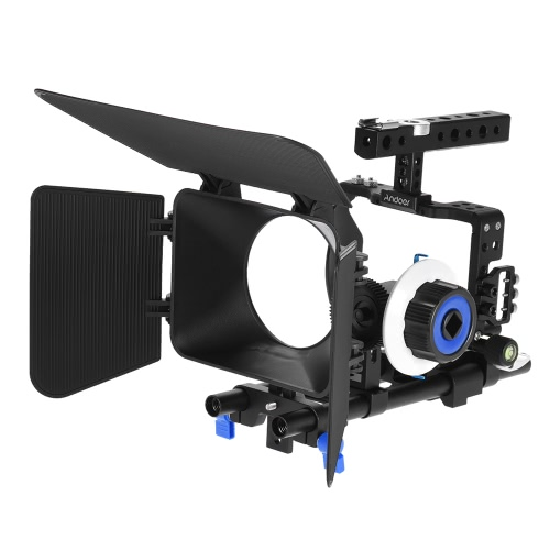 Andoer Professional Video Cage Kit Rig Film Making systemu w / 15mm Rod Follow Focus FF Matte Box for Sony A6000 A6300 A6500 ILDC lustra aparatu kamery