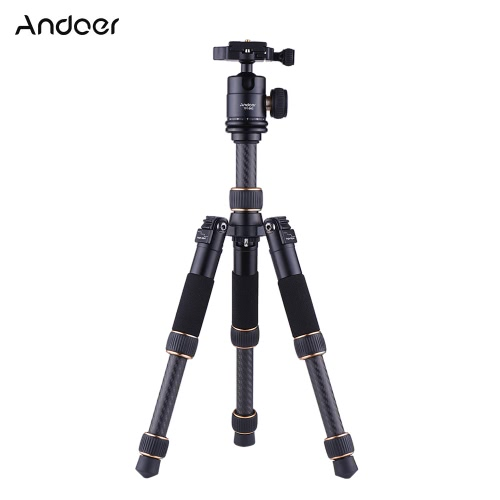 Andoer TP166C przenośny lekki stolik z włóknami węglowymi Mini statyw z głowicą kulkową Zestaw 3-punktowy Wysokość tylko do złożenia 21cm dla Canon Nikon Sony Kamera cyfrowa Kamera cyfrowa Maksymalna nośność 8 kg
