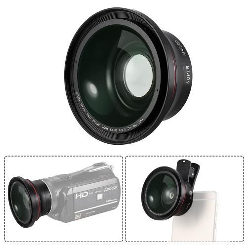 Soczewka optyczna HD 0.39X szerokokątna + makro Obiektyw 37mm Gwint do kamer Ordro Ando Z20 D395 Z8 plus Z80 F5 V7 Z18 Kamera cyfrowa DV Rejestrator wideo dla telefonu iPhone 7 7plus 6 6 plus dla Samsung Huawei Smartphone Fotografia zbliżeniowa