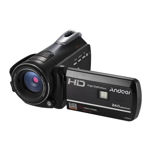 """Andoer HDV-D395 Cyfrowa kamera wideo DV WiFi 1080P 30 kl./sek. Kamery wideo 24-megapikselowe 24-milimetrowe 18 mm z 72 mm 0,39 x szerokokątny + makro soczewki / zdalne sterowanie / podczerwone podczerwone oświetlenie nocne + dioda LED / 3 """"dotykowy ekran rozpoznawania twarzy / wykrywania twarzy"""