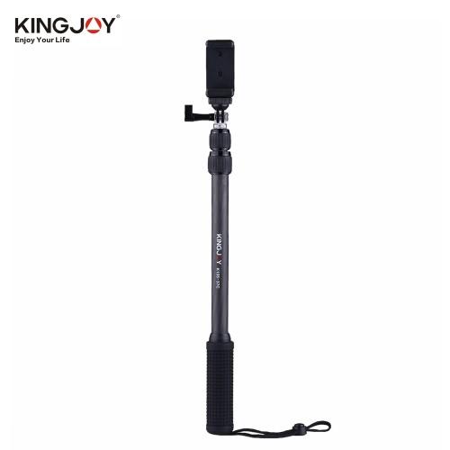 Jingjoy K105-37C 114cm / 3.7ft Telescoping Fibra de Carbono Selfie Stick Smartphone Soporte Brazalete para iPhone 7 6 más para GoPro Hero 5/4/3 + / 3 para Yi 4K Deportes Acción VR Video Cámara