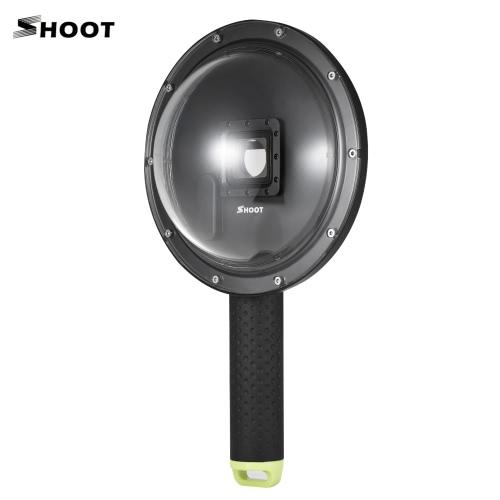 SHOOT XTGP258 6インチアクションカメラダイビングフィッシュアイドームポート防水ケース付き水中ダイビングカメラレンズGoProヒーロー3 + / 4用フロートグリップブラックシルバーカメラ水中写真