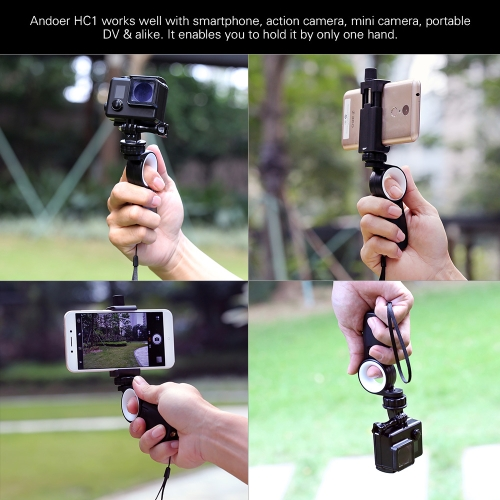 【with tripod】andoer hc1 smartphone action camera hand grip stand handle holder stabilizer