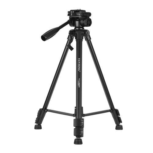 YUNTENG VCT-390RM Portable Aluminum Alloy Video Tripod with Pan & Tilt Head 3-Section Adjustable Max. Working Height 142cm 1/4