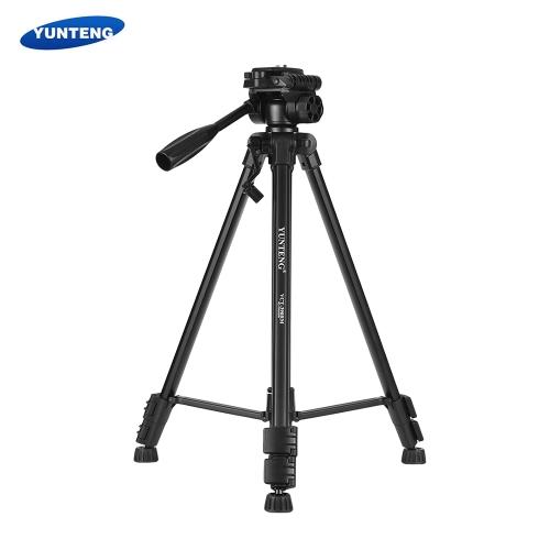 YUNTENG VCT-390RMポータブルアルミ合金ビデオ三脚、パン&チルトヘッド3セクション調整可能な最大。高さ142cm 1/4インチキャビネット用ネジマウントスマートフォン対応Sony Camera Camcorder DV最大荷重3kg