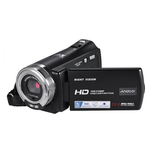 Cámara de video Andoer V12 1080P Full HD 16X con grabación digital de zoom