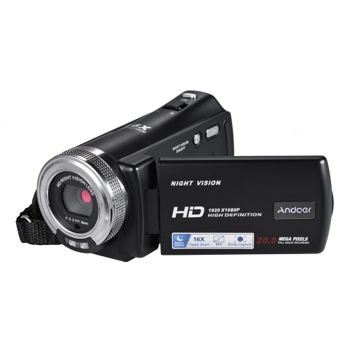 Andoer V12 1080P Full HD 16X Zoom numérique Caméra vidéo d'enregistrement