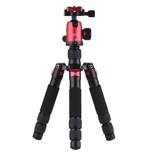 Andoer DT-02 Mini Portable Desktop Tripod Stand Aluminum Alloy with Ball Head Quick Release Plate Carry Bag for Canon Nikon Sony DSLR Camera