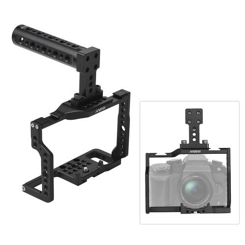 """Andoer G85 Caja de aleación de aluminio con muchos agujeros de montaje de 1/4 """"y 3/8"""" 2 Conector de zapata fría para Panasonic G85 / G80 Cámara ILDC para montar el monitor de micrófono Trípode de luz de video"""