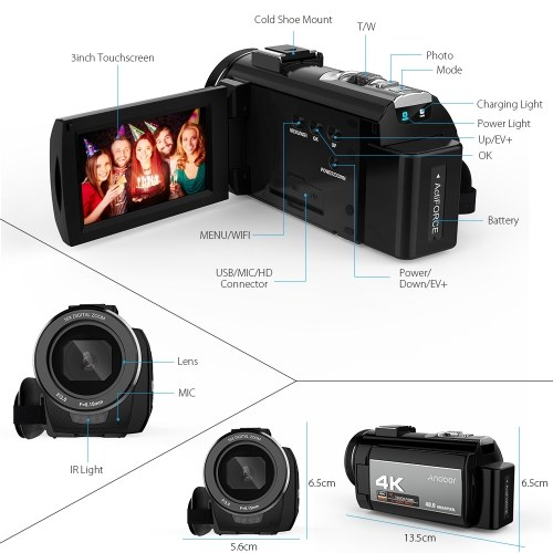 Andoer Portable 4K 48MP WiFi Digital Video Camera Camcorder