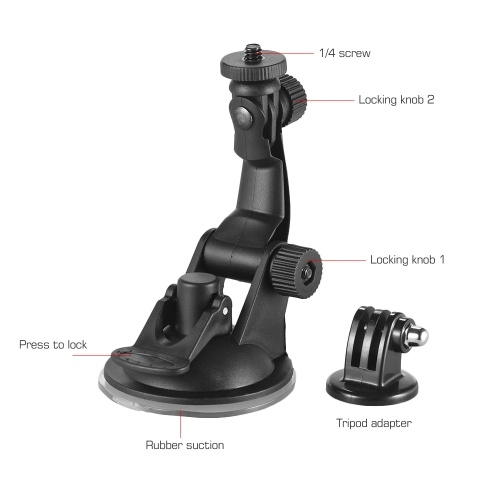 Action Camera Accessories Car Suction Cup Mount + Tripod Adapter for GoPro hero 7-6-5-4 SJCAM -YI