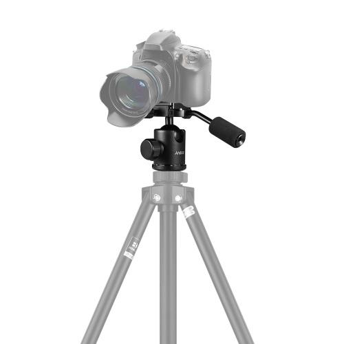 Cabeza de bola de trípode de mango Andoer Cabeza giratoria panorámica de 360 grados con orificio de tornillo de 3/8 de pulgada de 1/4 pulgada para cámara DSLR Máx. 15kg de carga