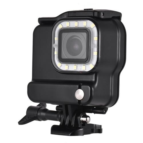 Cámara de acción 2 en 1 Carcasa a prueba de agua + Luz de relleno LED para buceo 14pcs LED 3 modos de iluminación 300LM Submarino 30 m con batería recargable para cámaras de deportes GoPro Hero 6 5