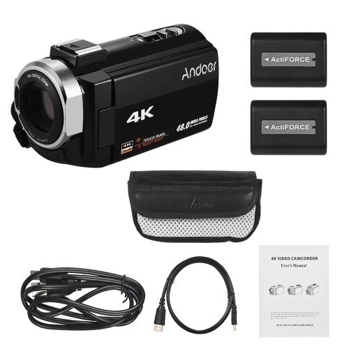 Andoer Портативная 4K HD цифровая видеокамера Видеокамера DV 16X с цифровым зумом 3 дюйма Сенсорный экран Wi-Fi Соединение ИК ночного видения с креплением на горячий башмак с 2 батарейками фото