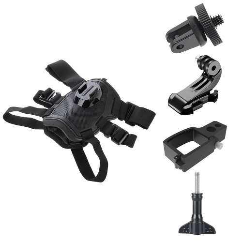 Comfortable Dog Harness Chest Strap Mount + J Hook Bucket Mount & Adapter & Long Screw + Camera Holder Kit