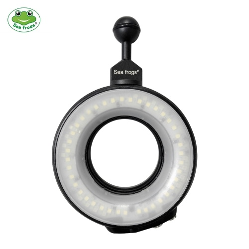 Sea frogs SL-108 Portable Waterproof LED Camera Video Ring Light Flash Light Lamp Fill-in Light Adjustable Brightness Color Temperature 7500K Max. Diving Depth 40 Meters for Cameras Waterproof Housing with 67mm Threaded Interface for Diving Underwater Photography