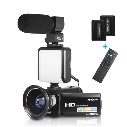 Andoer HDV-201LM 1080P FHD Digitale Videokamera Camcorder DV-Recorder 24MP 16-facher Digitalzoom 3,0-Zoll-LCD-Bildschirm mit 2 wiederaufladbaren Batterien + 0,39-faches Weitwinkelobjektiv + externes Mikrofon + externes Mini-LED-Licht