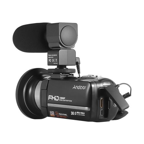 Andoer HDV-301LTRM 1080P FHD Цифровая видеокамера Видеокамера DV-рекордер ИК Nightshot 24-мегапиксельный 16-кратный цифровой зум 3,0-дюймовый сенсорный ЖК-экран с 2 батарейками + дополнительный широкоугольный объектив 0,39X + внешний микрофон + внешний мини светодиод
