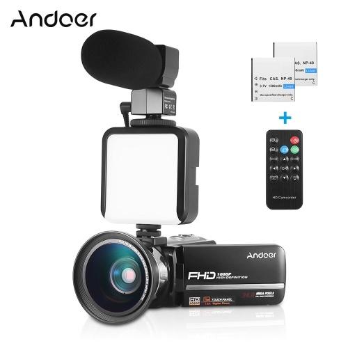Andoer HDV-301LTRM 1080P FHD Digitale Videokamera Camcorder DV-Recorder IR Nightshot 24MP 16-fach Digitalzoom 3,0-Zoll-LCD-Touchscreen mit 2 Akkus + 0,39-fachem Weitwinkelobjektiv + externem Mikrofon + externem Mini-LED-Licht