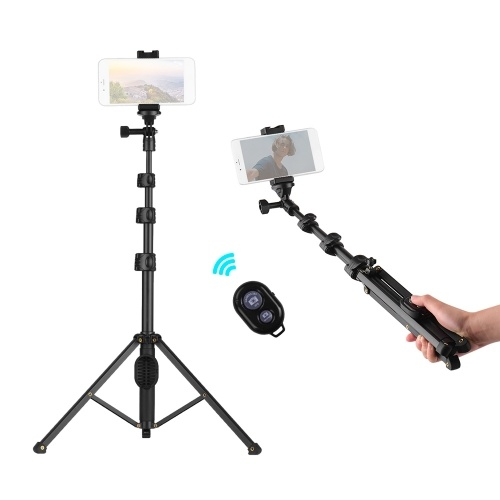 Andoer 2-in-1 Phone Tripod Selfie Stick Extendable Height with Wireless Remote Control Compatible with iPhone Android Samsung Huawei Xiaomi Smartphones