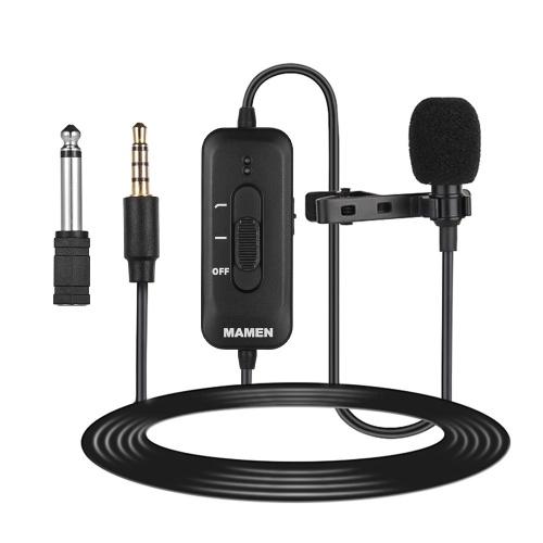 MAMEN KM-D2 Microfono lavalier clip-on omnidirezionale Spina 3,5 mm Microfono a condensatore 8 m Lunghezza cavo Cavo audio eccellente per presentazioni Registrazione video audio per smartphone Videocamera DSLR