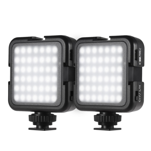 Andoer 42LED Ultra Bright LED Video Lights 42PCS Light Beads with Cold Shoe Mount Dimmable Brightness 6000K Stable Color Temperature Shooting Photographing Lighting Compatible with Canon Nikon Sony Digital DSLR Cameras Pack of 2PCS