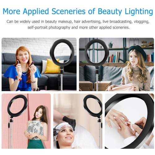 Portable 20cm / 8 Inch Diammable 3200K-5500K Bi-Color Ring Video Light 3pcs Lighting Modes with Tabletop Tripod Selfie Stick for Live Streaming Making-up Vlogging Portrait Photography