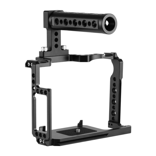Andoer Camera Cage + Top Handle Kit Aluminum Alloy with 1/4 Inch & 3/8 Inch Screw Holes Dual Cold Shoe Mount Compatible with Canon 5DS 5DR 5D Mark IV/III/II