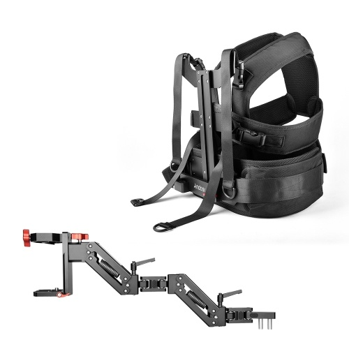 Andoer B300 Aluminum Alloy Single Damping Arm with Photography Vest Compatible with DJI Ronin-S Ronin-SC Zhiyun Crane 2 FeiyuTech G6 Max AK2000S AK4000 AK4500 AK2000 G6Plus MG Lite Handheld Gimbals for Stable Movie Making Video Shooting Load Capacity 2~7kg