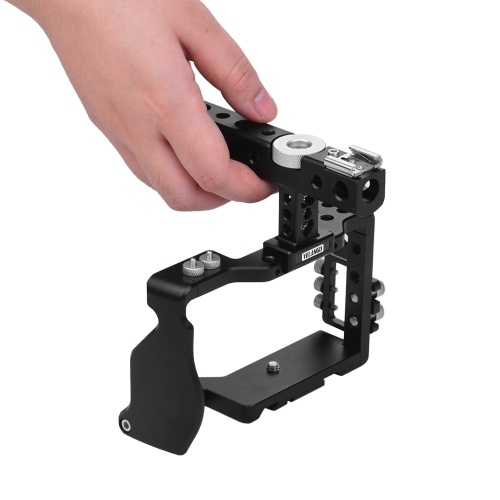 YELANGU Camera Cage with Top handle and Cable Clamp Film Movie Making Video Cage Stabilizer Aviation Aluminum with Cold Shoe Mount