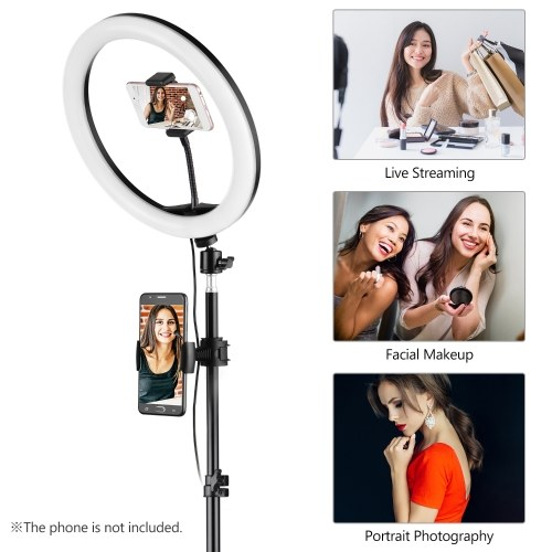 Andoer 12 Inch LED Ring Lights Ringlight with Phone Holders Remote Shutter Tripod Light Stand 3 Color Temperature Modes USB Powered Photography Lighting Video Light for Live Streaming Studio Shooting Make-Up