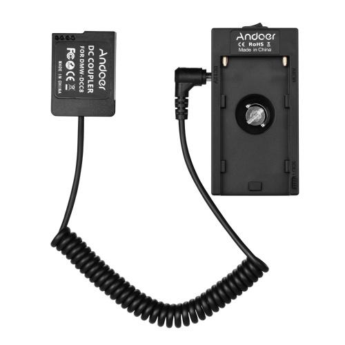 Andoer NP-F970 F750 Batterieplattenhalter-Adapter + NP-W126 Dummy-Batteriekoppler kompatibel