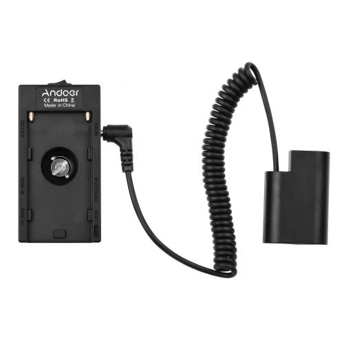 Andoer NP-F970 F750 Adaptador de suporte de placa de bateria com interface USB dupla + Acoplador de bateria fictício DMW-DCC8