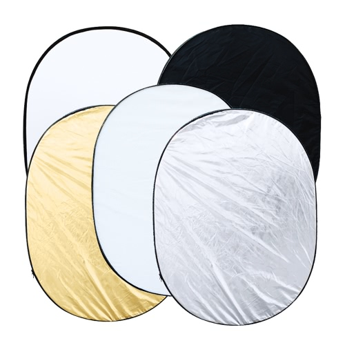MAODATOU Photographic Reflector 100x120CM Cover Cloth with Carry Bag 4-in-1 Metal Flag Panel Set Reflector with Soft White Silver and Gold for Photo Video Studio Photography Black