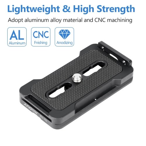 Andoer PU-70L Quick Release Plate 70mm QR Plate 1/4 Inches Mounting Screw