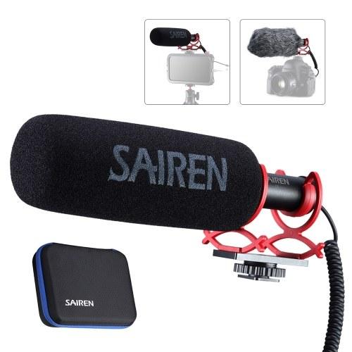 SAIREN Q3 Super Cardioid Condenser Microfone Entrevista Mic 3,5mm Plug-and-Play