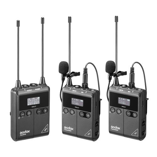 Godox WMicS1 kit2 UHF Wireless Microphone System with 2pcs TX1 Portable Body-pack Transmitters + 1pc RX1 Portable Receiver
