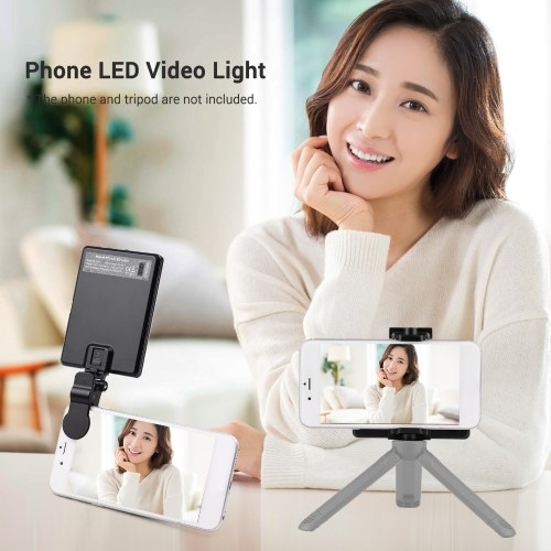 3-in-1 Clip-on Video LED Light 4W 3200K-5600K 3-color 10-Level Dimmable CRI95+