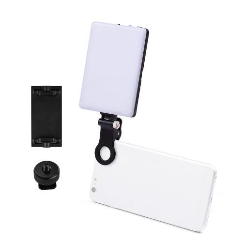 Lampe vidéo LED 3-en-1 à clipser 4W 3200K-5600K 3 couleurs dimmable à 10 niveaux CRI95 +