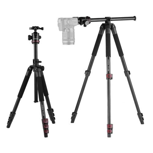 Andoer TTT-006 164 см / 65 дюймов, 4-секционный выдвижной штатив для видеокамеры из алюминиевого сплава + комплект с шаровой головкой, горизонтальное крепление с откидной пряжкой, с сумкой для переноски для цифровых зеркальных фотокамер ILDC Макс. Нагрузка 8кг