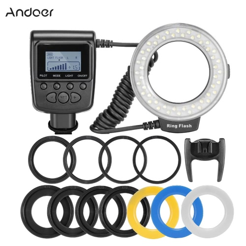 Andoer RF-550D Macro 48 LED Anneau Flash Light LCD Display Power Control pour Canon Nikon Pentax Olympus Panasonic Sony DSLR