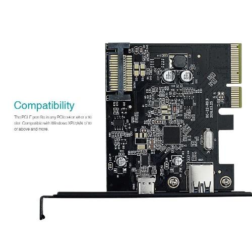 Dodocool USB 3.1 Gen II (10 Gb / s) Typowa i 2-portowa karta PCI Express PCI-E dla komputerów stacjonarnych