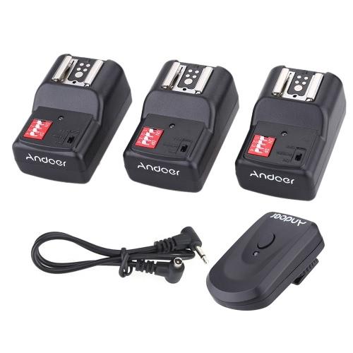 Andoer 16 Channel Wireless Remote Flash Trigger Set 1 Transmitter + 3 Receivers + 1 Sync Cord for Canon Nikon Pentax Olympus Sigma Sunpak Vivitar Neewer YOUNGNUO Speedlite
