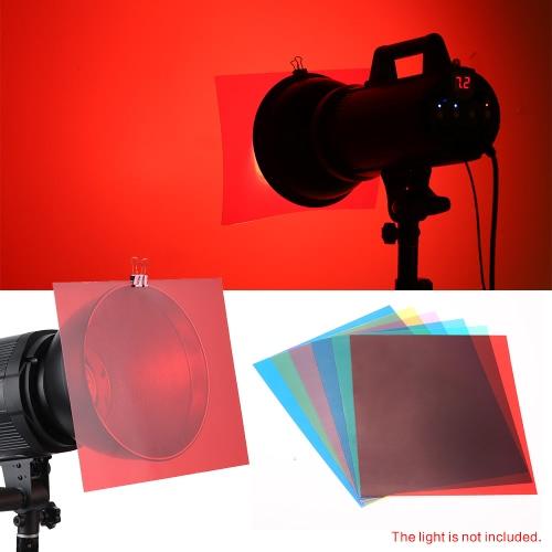 Hojas de Gel de corrección de Color de iluminación transparente de 6pcs 25 * 20cm sistema de filtros para Flash Speedlite luz (roja / azul / verde / Cyan / amarillo / Magenta)