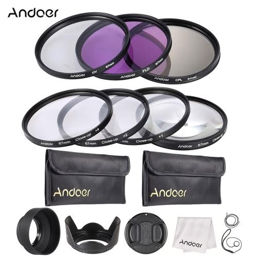 Andoer 67mm UV + CPL + FLD + Szczelnie-do góry (+ 1 + 2 + 4 + 10) Zestaw filtrów obiektywu z torebką + nasadką obiektywu + uchwyt na osłonę obiektywu + okulary z tulipanów i gumy +